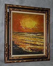 Morris Katz (1931-2010) oil on board of sunset seascape