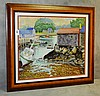 Hal Burriss framed watercolor of a dock scene signed lower left, Riley Hal Burriss, Click for value