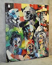 Mystery artist abstract oil on canvas of people. Site