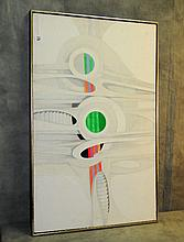 Mystery artist mid century geometric oil on canvas.