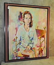 Oil on canvas portrait of a woman signed and dated