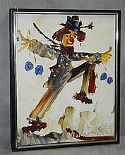 Morris Katz (1931-2010) oil on masonite of clown signed