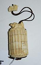 Chinese marine ivory figural inro of rats on a basket.