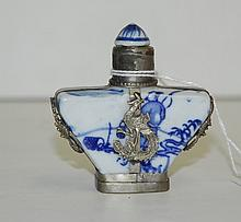 Chinese porcelain and silver snuff bottle. H:2.5