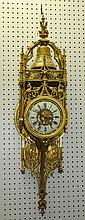 Large 19th c dore bronze cartel clock. H:41