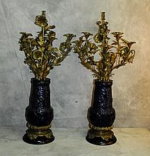 Pair 19th c French bronze and cobalt blue five arm