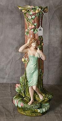 Large porcelain figural vase , signed. H:21