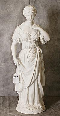 Large parian figural statue of woman. H:18.5