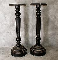 Pair ebonized wood pedestals. H:40