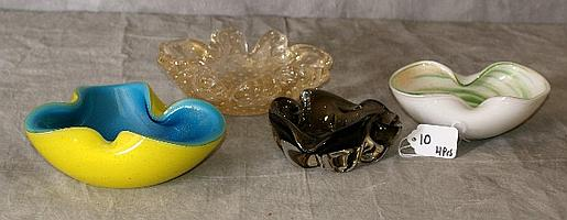 Four Venetian glass shaped bowls. Largest D:7