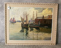 J.J Enwright (1911-2001) oil on canvas of harbour scene