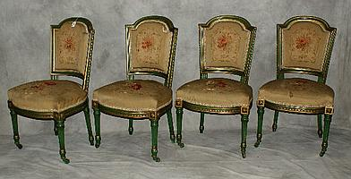 Four 19th C French painted side chairs with tapestry