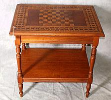 19th C Italian inlaid game table with single drawer.