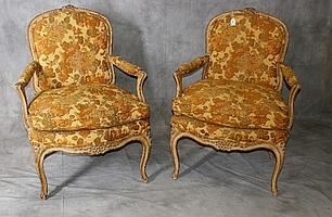 Antique French upholstered arm chairs. H:36.25