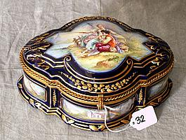 Large Sevres porcelain hinged covered box , artist