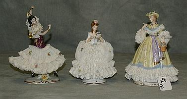 Three Dresden porcelain figures. H:7