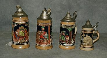 Four German beer steins. Largest H:7