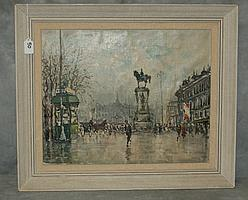 Oil on canvas Parisian street scene. Overall size H:21
