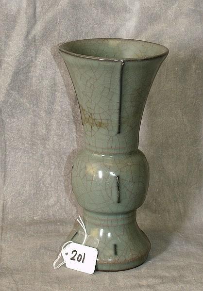 Chinese 19th c Porcelain crackel glaze vase, Signed