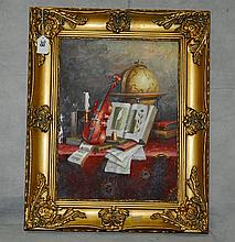 Oil on board still life. Overall size H:21. 5