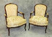 Pair antique French arm chairs. H:37