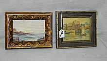 Two oil paintings , one on canvas signed Eleanor Curtis