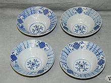 Four Chinese blue and white porcelain bowls. H:2. 25
