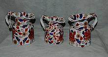 3 Iron Stone pitchers. H:6. 5