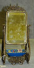 Bronze and porcelain soap dish in form cheval mirror.