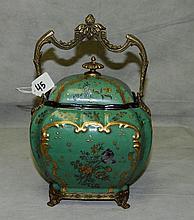 Porcelain and bronze tea caddy. H:12
