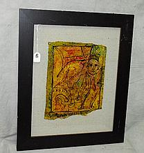 Russian oil on board by Alexander Gore with letter of