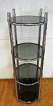 Modern Chrome & Glass Round Multi-Tier Shelf