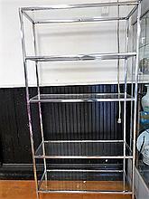 Modern Chrome & Glass Shelving Unit