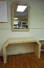 Modern Designer Brass &  Stone Veneer Console Table & Mirror