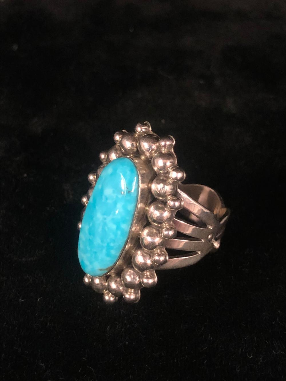 Ornate turquoise sterling silver ring