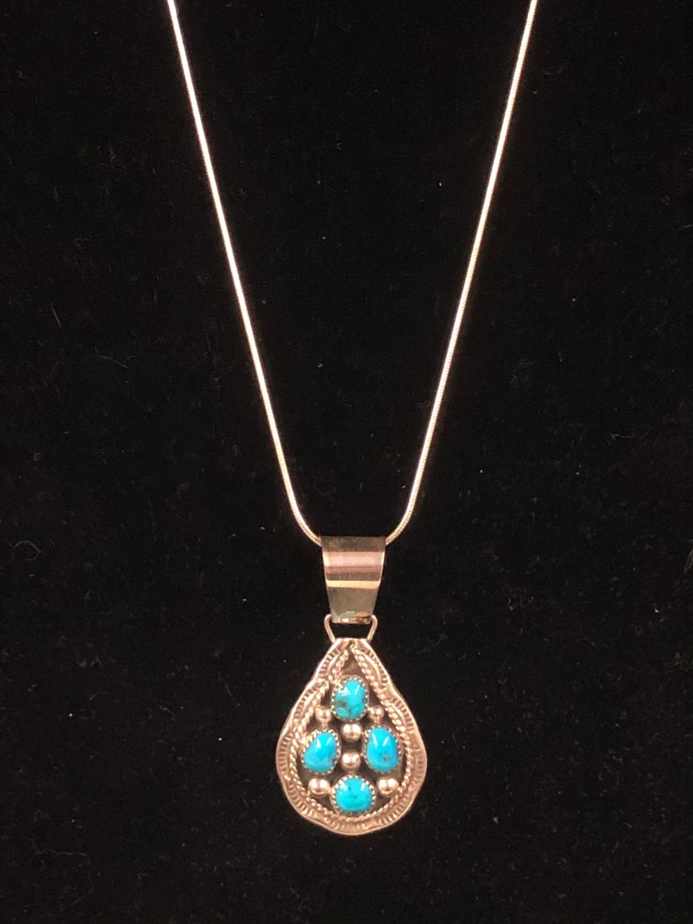 Four stone turquoise teardrop sterling silver pendant