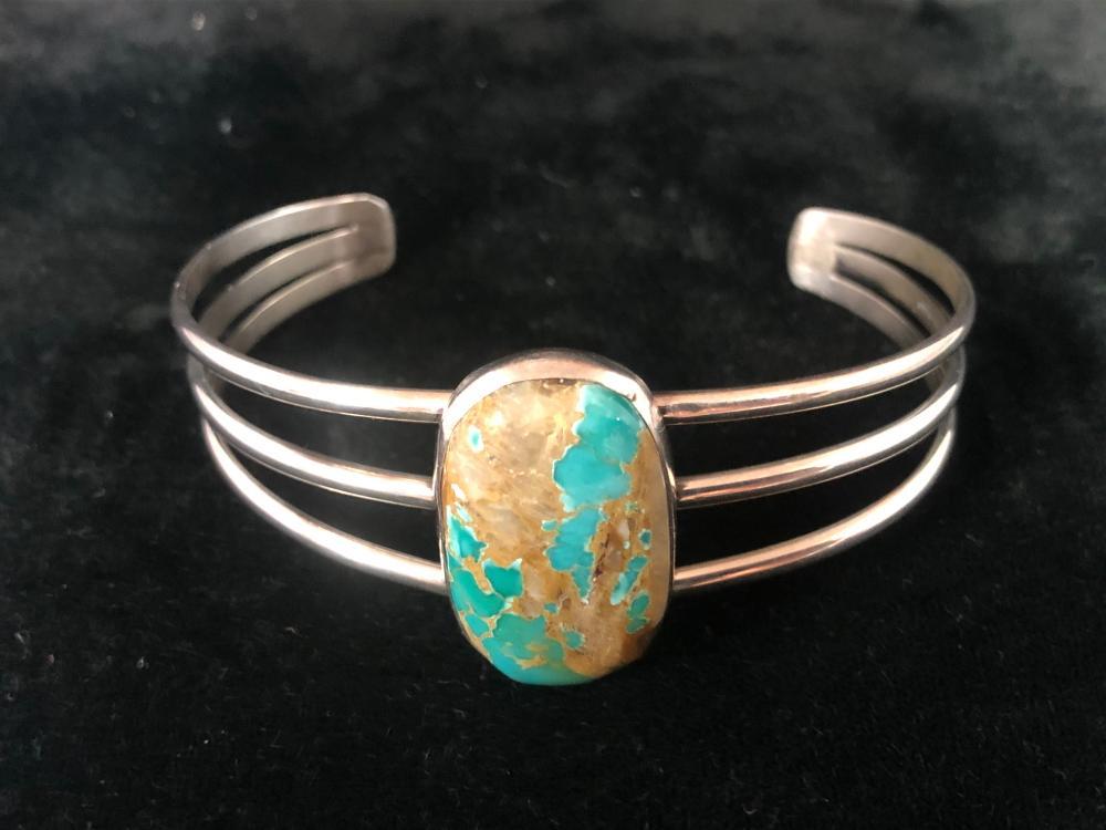 Boulder turquoise sterling silver cuff bracelet