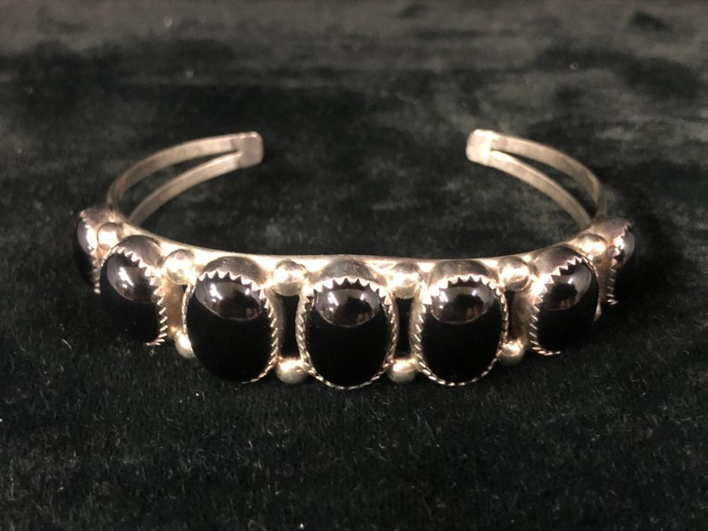 Onyx sterling silver cuff bracelet with seven stones