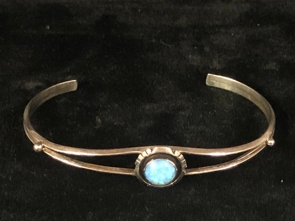 Blue cultured opal sterling silver cuff bracelet
