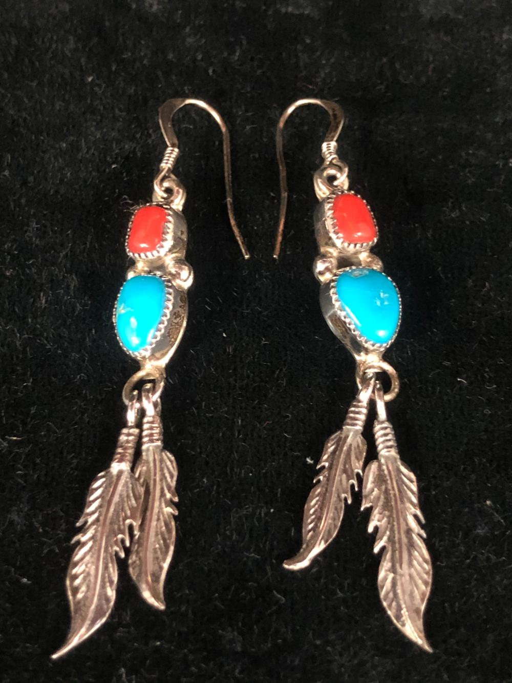Turquoise & coral with feathers sterling silver earrings