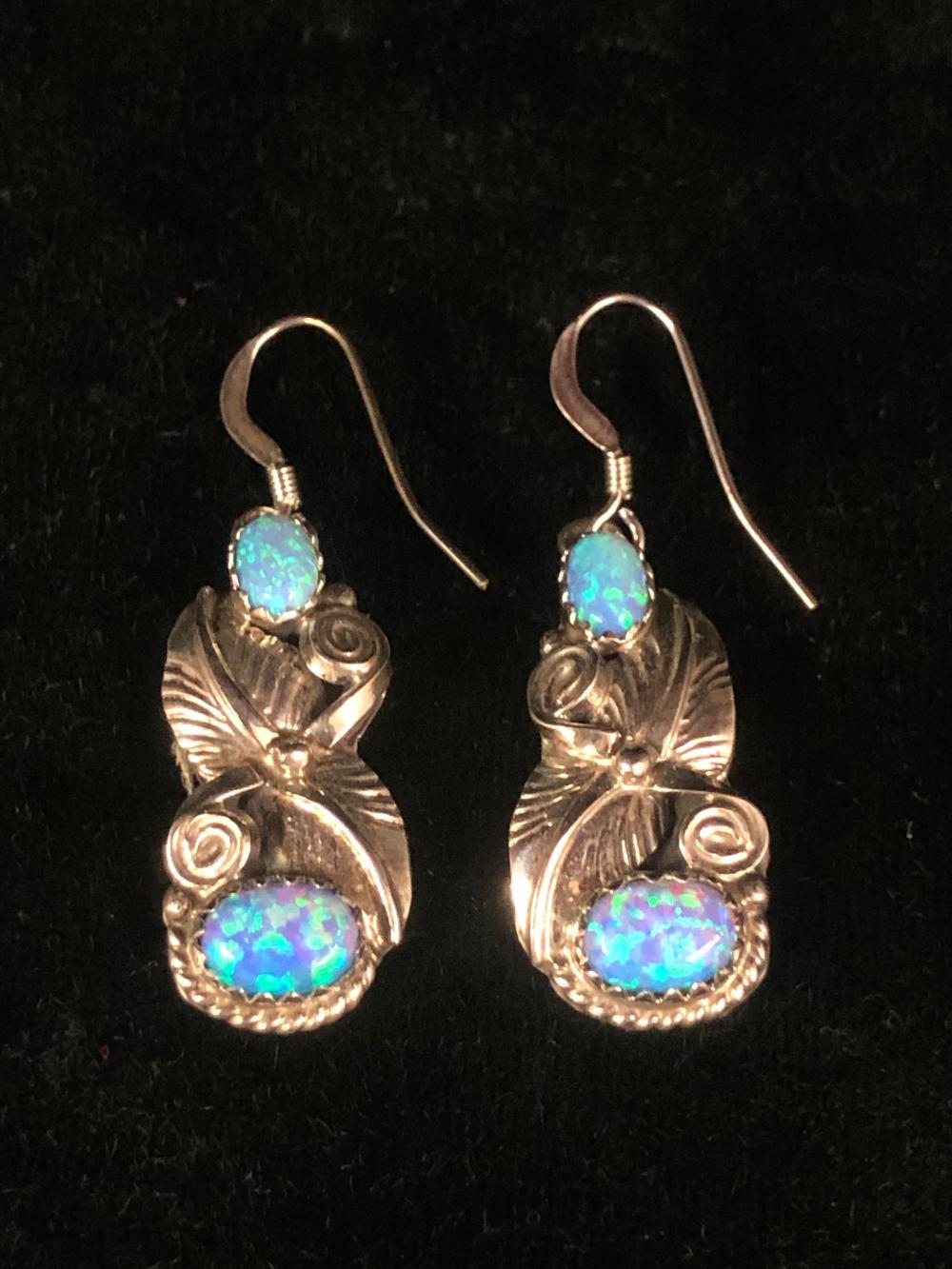 Cultured opal leaf pattern sterling silver earrings