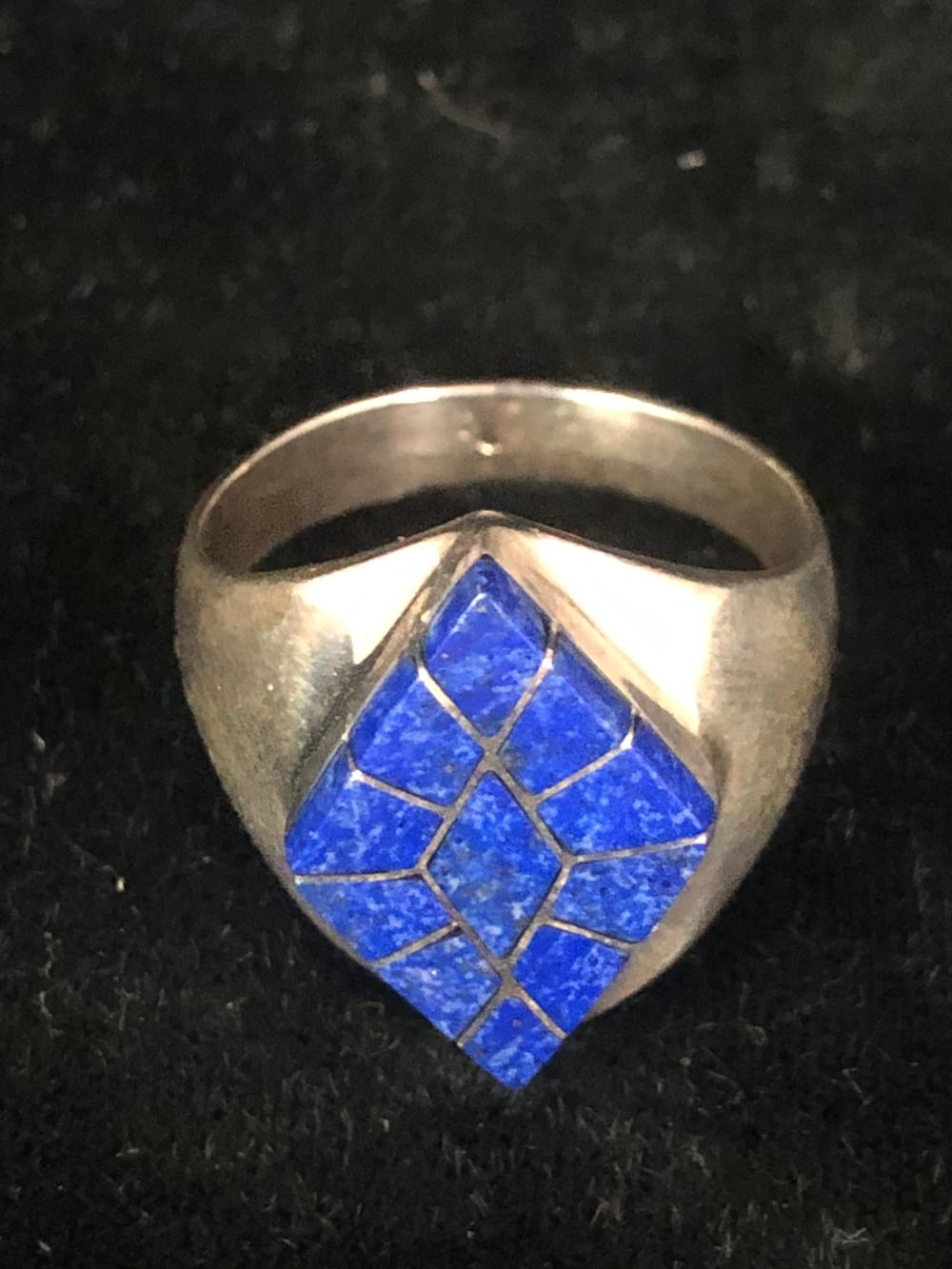 Lapis inlay diamond shaped sterling silver ring