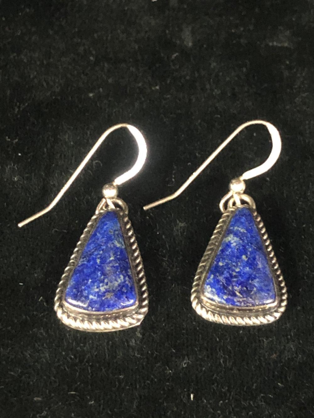 Lapis sterling silver earrings marked