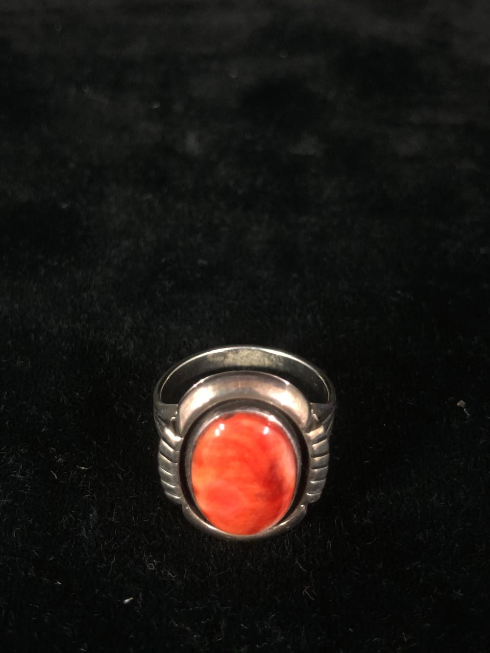 Orange spiny oyster sterling silver ring