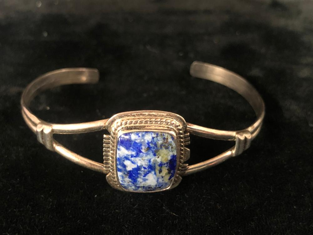 Square stone lapis sterling silver cuff bracelet