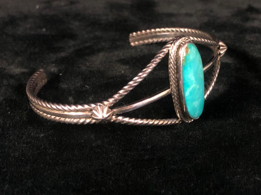 Turquoise cuff sterling silver bracelet