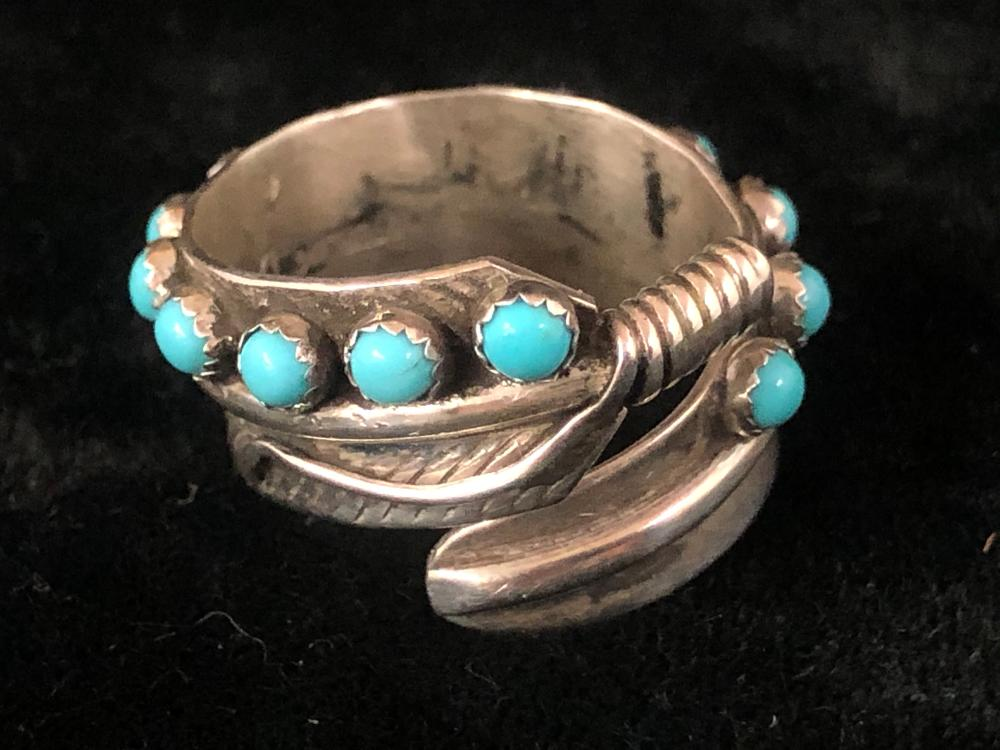 Full turquoise stone wrap sterling silver ring
