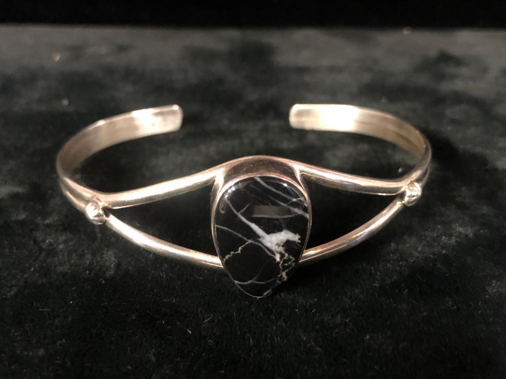 White buffalo turquoise sterling silver cuff bracelet