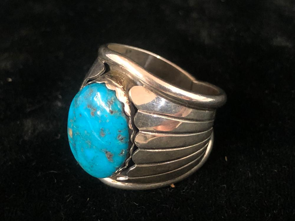 Deep blue turquoise sterling silver ring