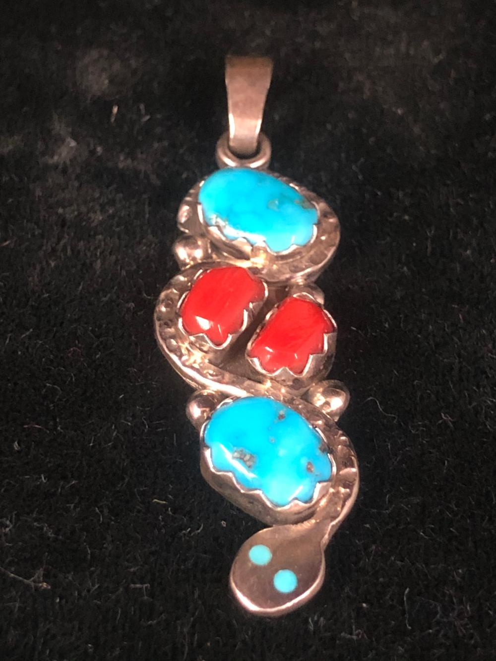 Effie C. turquoise and coral sterling silver pendant
